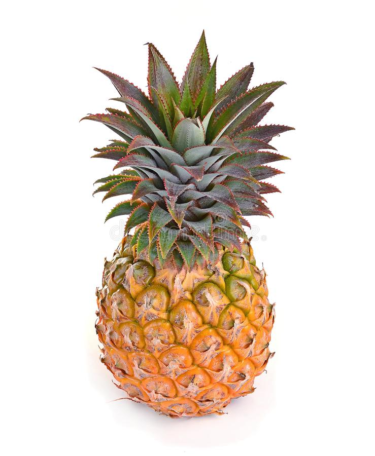 Juicy ripe sliced pineapple isolated on white background royalty free stock photography