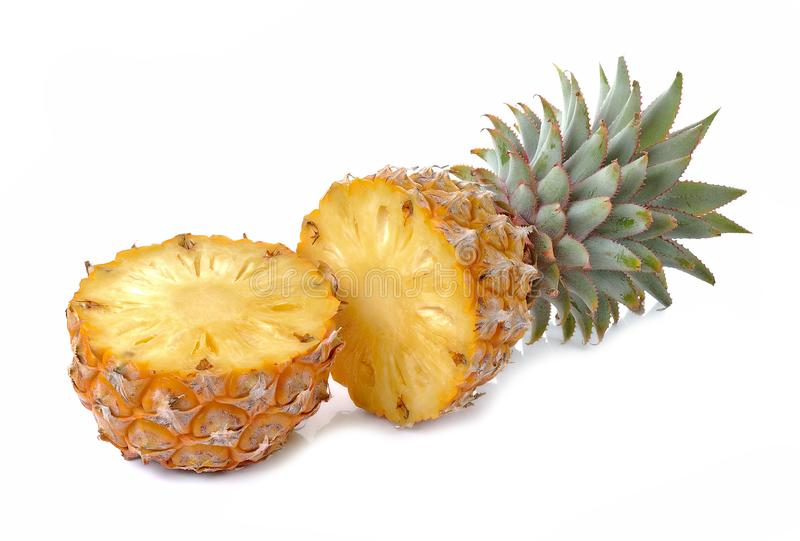 Juicy ripe sliced pineapple isolated on white background royalty free stock images