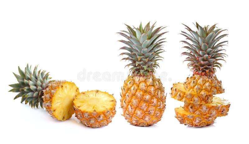 Juicy ripe sliced pineapple isolated on white background stock image