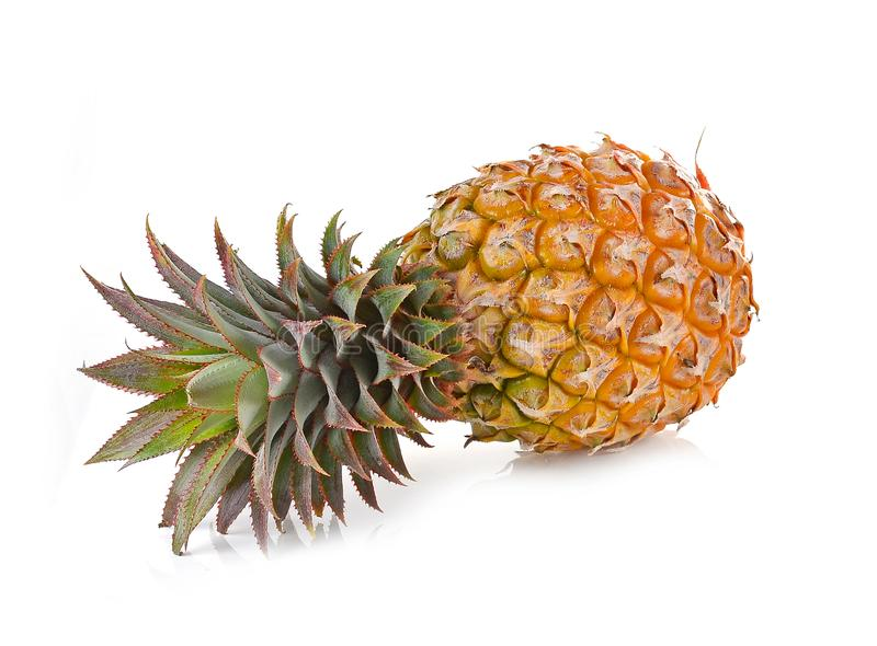 Juicy ripe sliced pineapple on white background royalty free stock photos