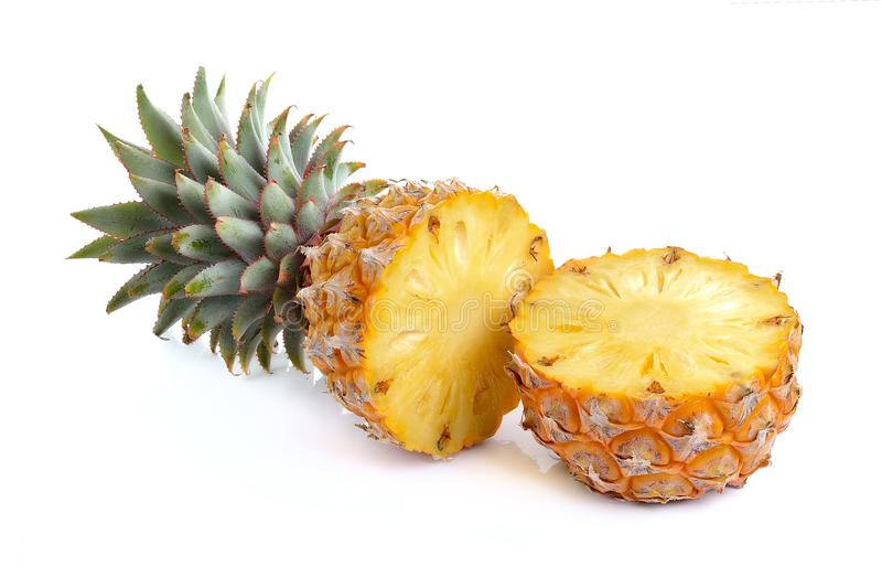 Juicy ripe sliced pineapple on white background stock image