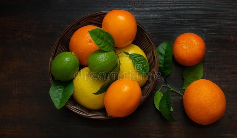 Juicy ripe slices of orange, lemon, grapefruit and lime on a dark background. Sliced citrus in a basket on a brown wooden table. Fruit mix, top view close-up royalty free stock photography