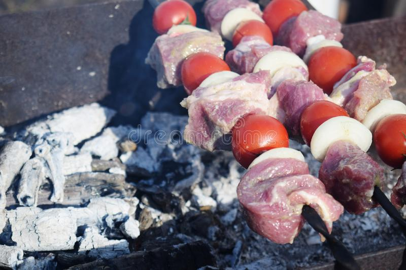 Juicy shish kebab from pork, tomatoes, fried on a fire outdoor royalty free stock photo
