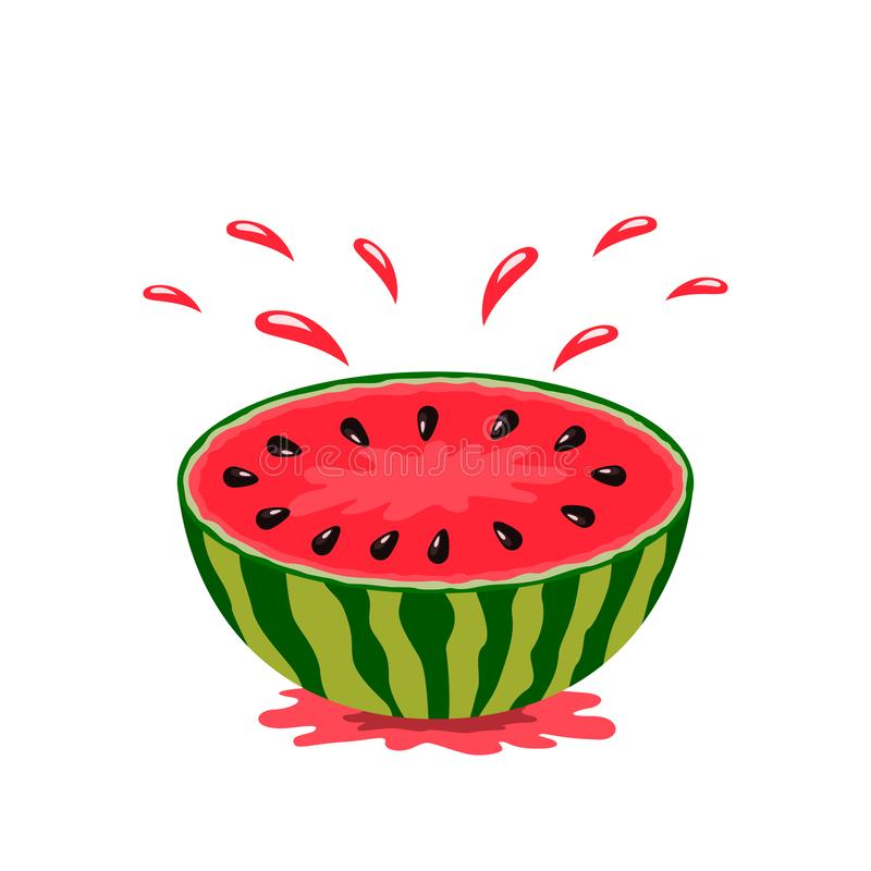 Juicy slice half a watermelon with a spray of juice. logo on a white background. flat isolated vector illustration for web. And print royalty free illustration