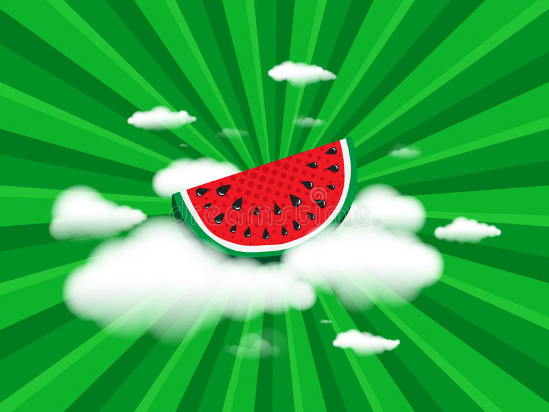 Juicy slice of watermelon on white clouds on background radial speed lines from rays, stripes green color royalty free illustration