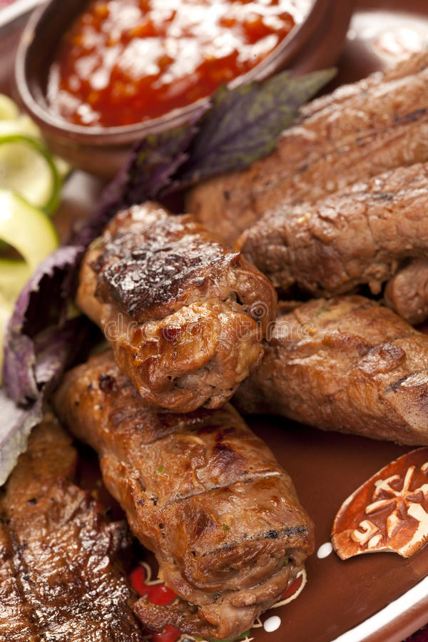 Juicy slices of meat stock photos