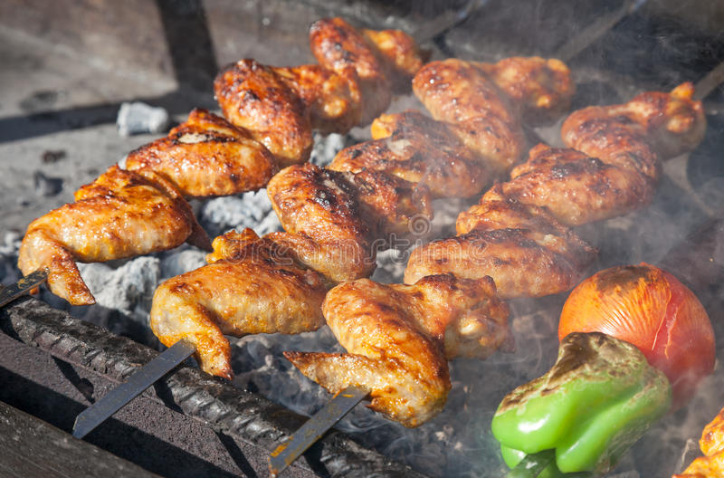 Download Juicy Slices Of Meat Prepare On Fire Stock Image - Image of grilled, kebab: 31550457