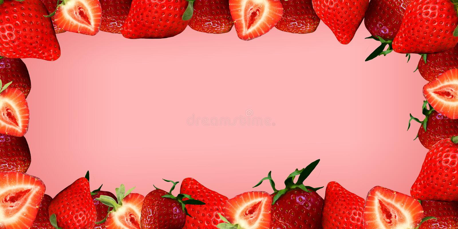 Juicy strawberry style on a pink background royalty free stock photography