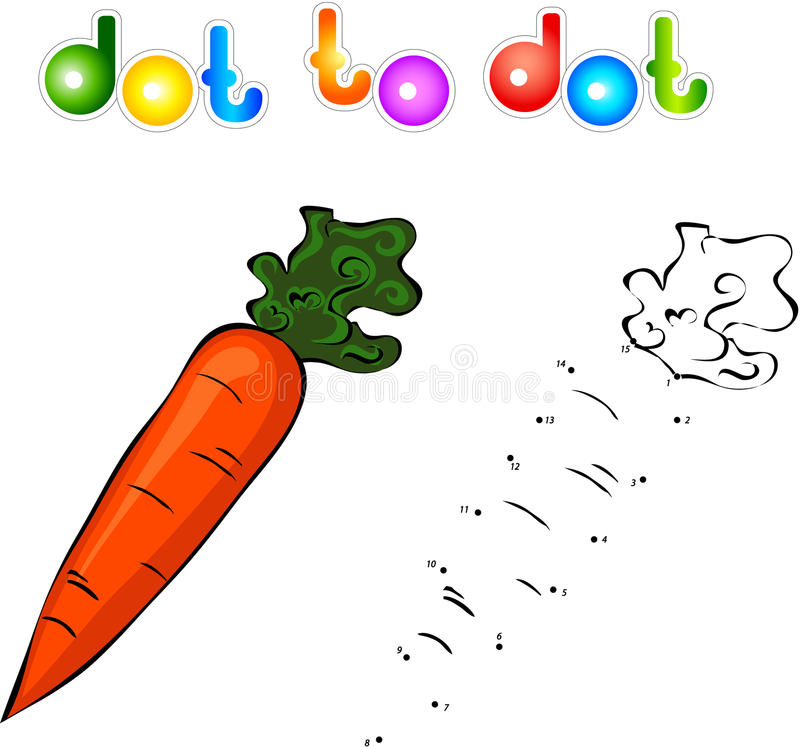 Juicy and sweet carrot. Educational game for kids: connect numbers dot to dot and get ready image vector illustration