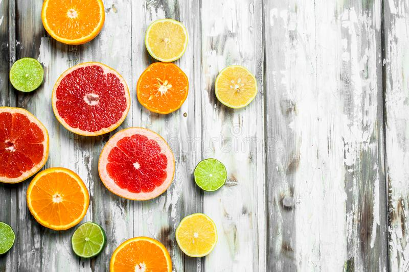 Juicy sweet citrus. On white wooden background royalty free stock photography