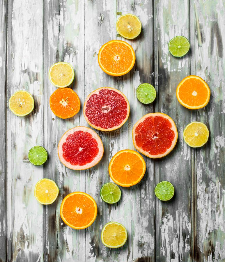 Juicy sweet citrus. On white wooden background stock photos
