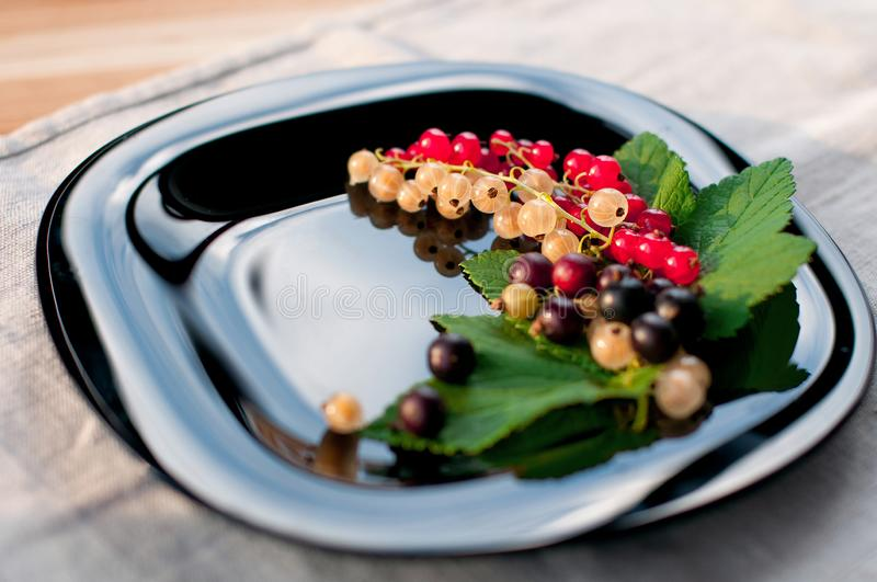 Juicy tasty red black and white currant, which is a bunch on a black glossy plate stock image