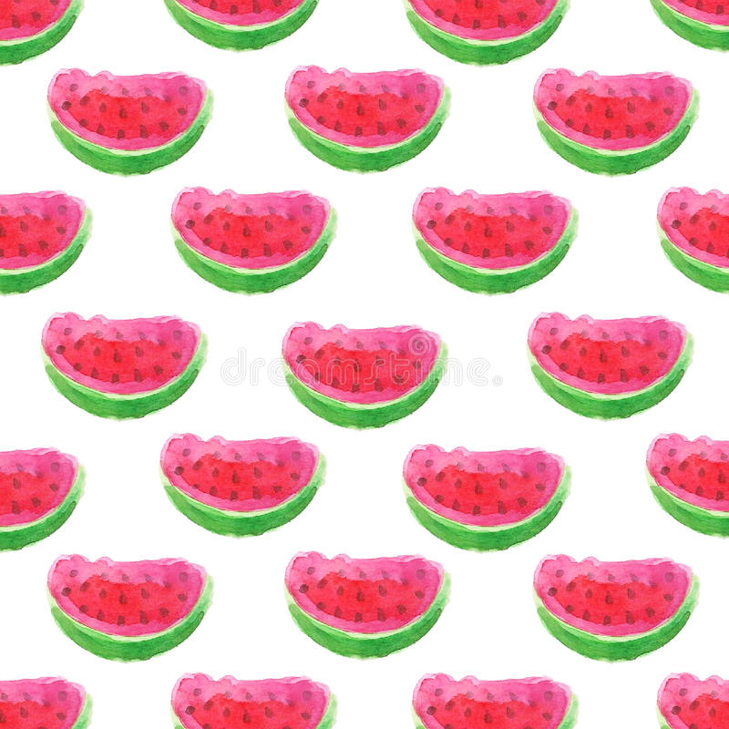 Juicy watermelon slices watercolor seamless vector pattern royalty free stock photo