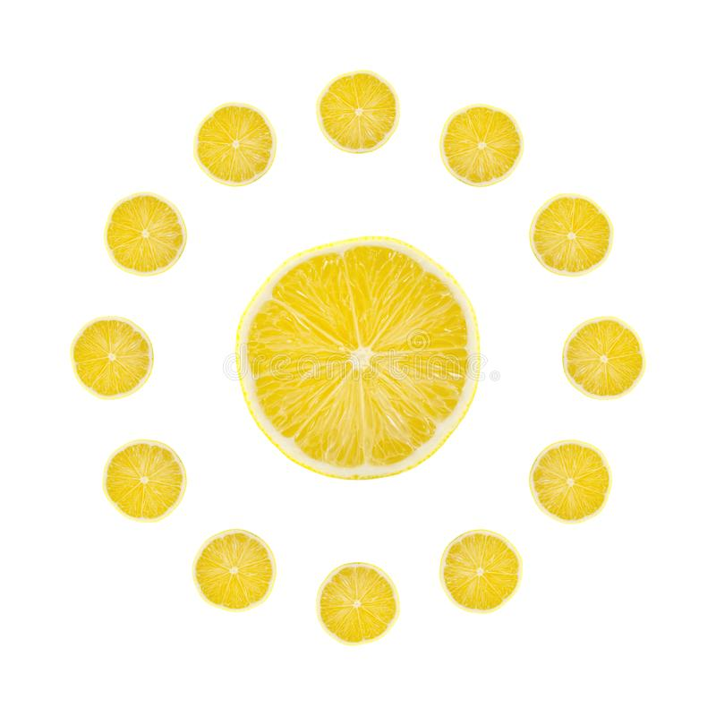 Juicy yellow slice of lemon fruit background, flat lay, clock composition.  stock images