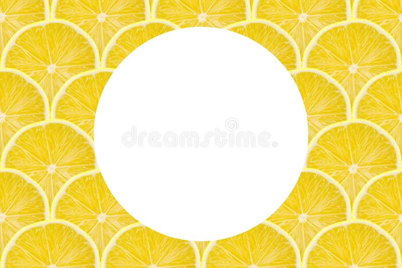 Juicy yellow slice of lemon fruit pattern background, flat lay with copy space.  royalty free stock image