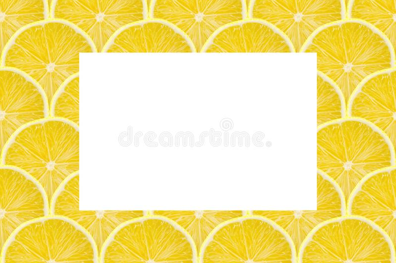 Juicy yellow slice of lemon fruit pattern background, flat lay with copy space.  stock image