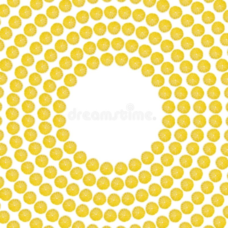 Juicy yellow slice of lemon fruit pattern background, flat lay with copy space, frame and border.  stock images