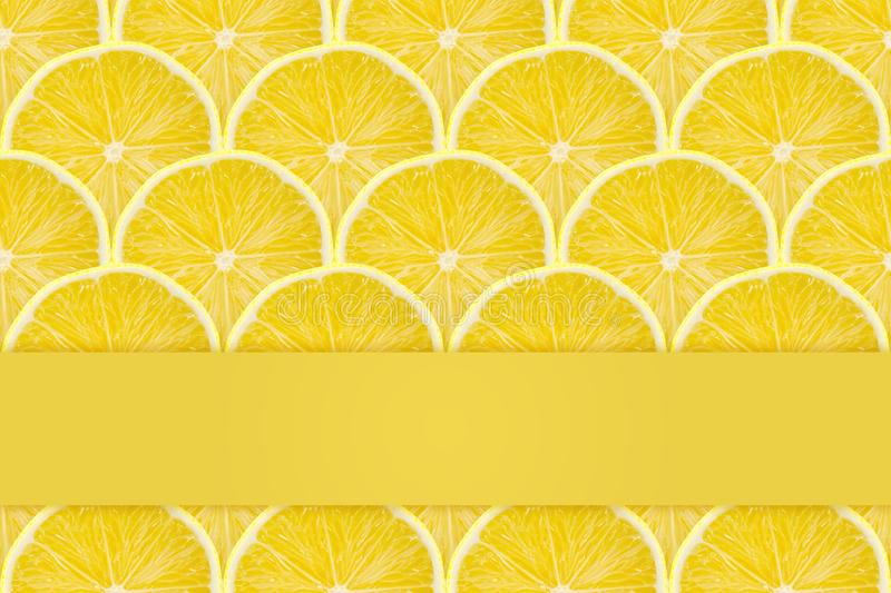 Juicy yellow slice of lemon fruit pattern background, flat lay. Copy space template stock images