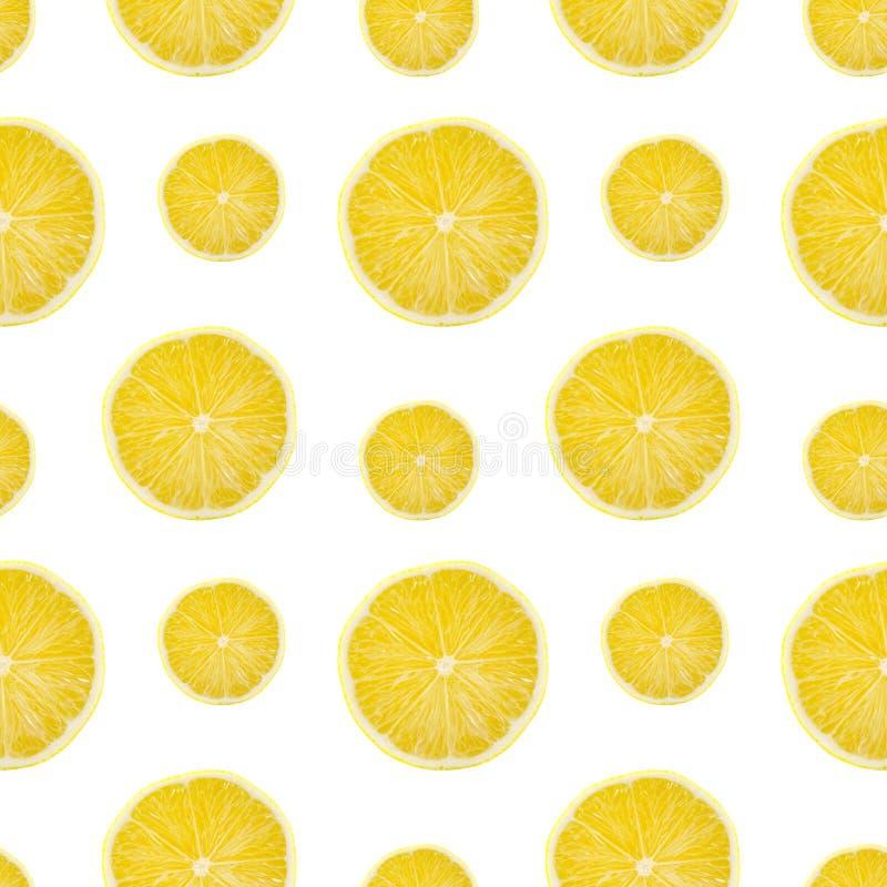 Juicy yellow slice of lemon fruit seamless pattern background, flat lay.  royalty free stock images
