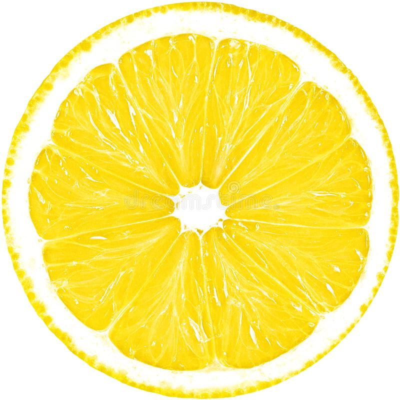 Juicy yellow slice of lemon isolated on a white background with clipping path. The perfect circle of sliced lemon. Citrus fruit stock photo
