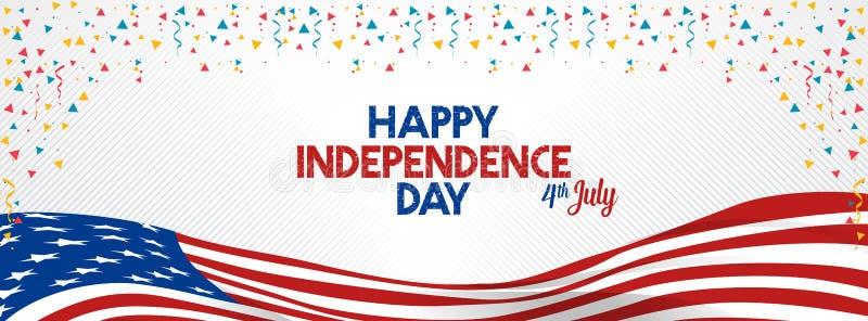 4 juillet état uni par Jour de la Déclaration d'Indépendance heureux Amérique illustration stock