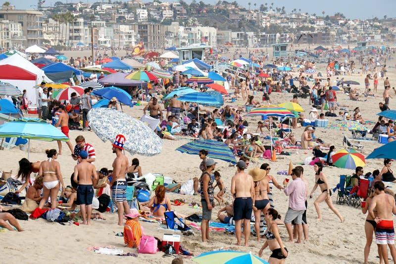 4 juillet célébrations sur la plage en Californie photographie stock libre de droits