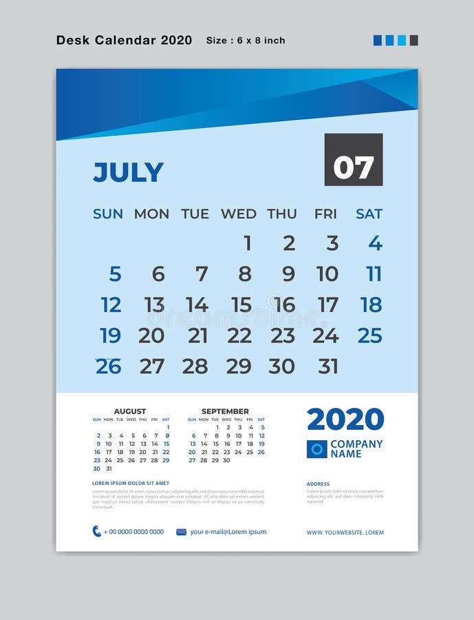 JUILLET 2020 calibre de mois, calendrier de bureau pendant 2020 années, début de semaine dimanche, planificateur, papeterie, conc illustration libre de droits