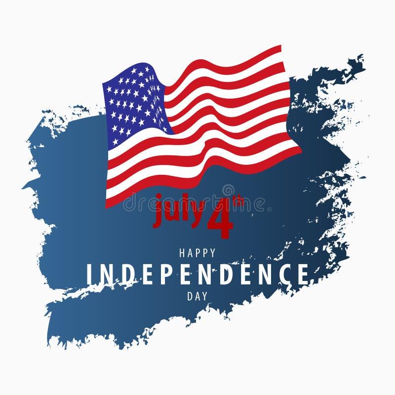 4 juillet carte de vecteur de Jour de la Déclaration d'Indépendance illustration libre de droits