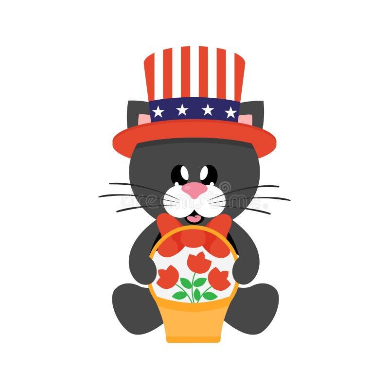 4 juillet chat noir mignon de bande dessinée dans le chapeau se reposant avec des fleurs de panier illustration de vecteur