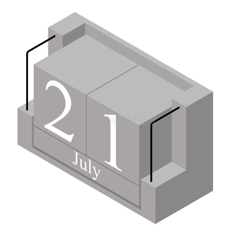 21 juillet date sur un calendrier d'un seul jour Date actuelle grise 21 de calendrier de bloc en bois et mois juillet d'isolement illustration stock