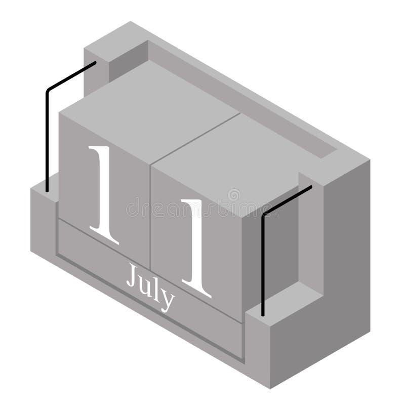 11 juillet date sur un calendrier d'un seul jour Date actuelle grise 11 de calendrier de bloc en bois et mois mai d'isolement sur illustration de vecteur