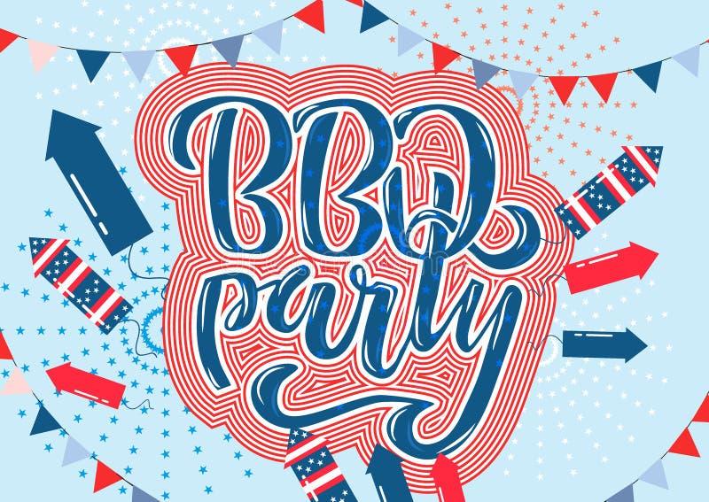 4 juillet invitation de lettrage de partie de BBQ au barbecue américain de Jour de la Déclaration d'Indépendance avec des étoiles illustration libre de droits