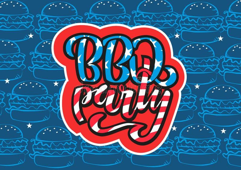 4 juillet invitation de lettrage de partie de BBQ au barbecue am?ricain de Jour de la D?claration d'Ind?pendance avec des ?toiles illustration libre de droits