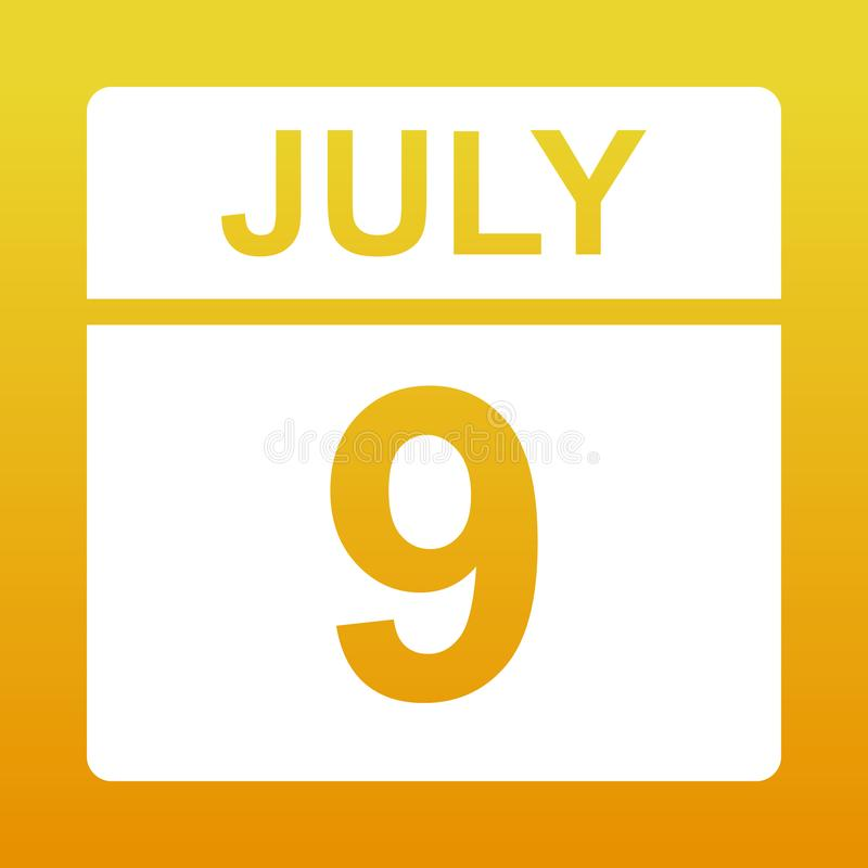 9 juillet Jour sur le calendrier illustration libre de droits