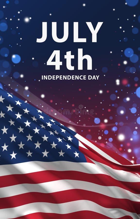4 juillet la bannière, le drapeau américain 3D rendent, ART des Etats-Unis illustration libre de droits
