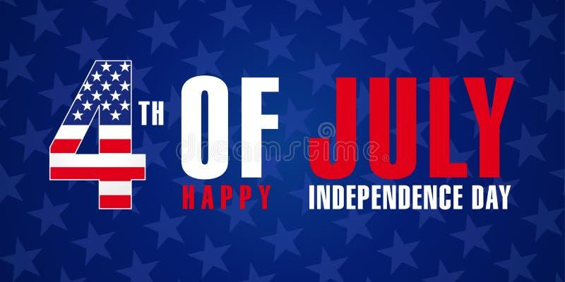 4 juillet, le Jour de la Déclaration d'Indépendance heureux des Etats-Unis tient le premier rôle l'affiche illustration de vecteur