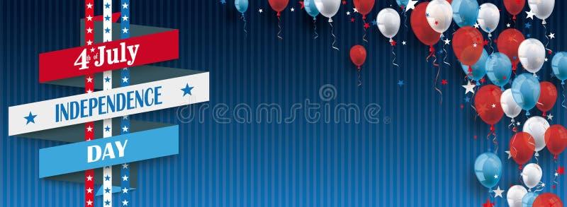 4 juillet le ruban monte en ballon l'en-tête bleu de vintage d'étoiles illustration stock