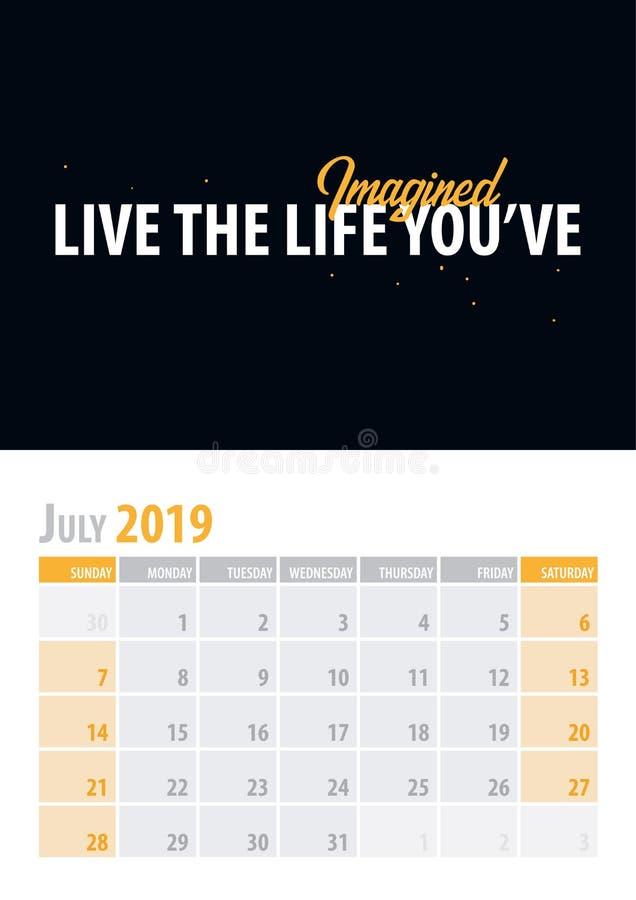 juillet Planificateur 2019 de calendrier avec la citation de motivation sur le fond noir Illustration de vecteur illustration stock