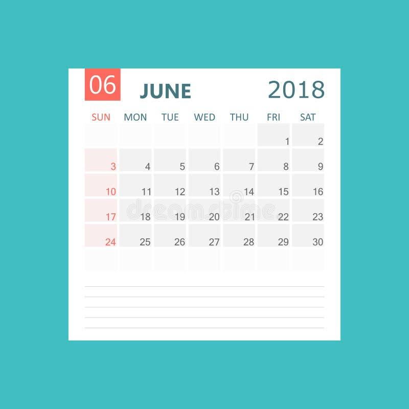 Juin 2018 calendrier Calibre de conception de planificateur de calendrier Début de semaine illustration libre de droits