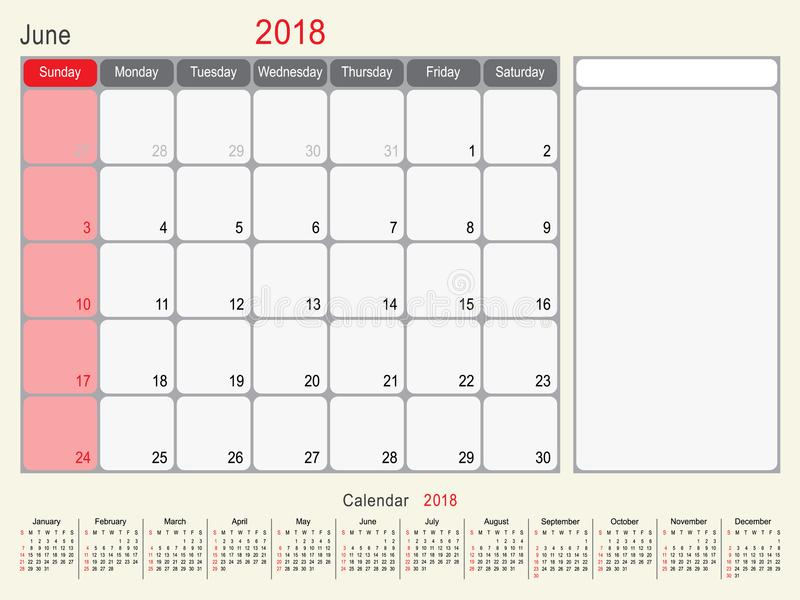 Juin 2018 conception de planificateur de calendrier illustration stock