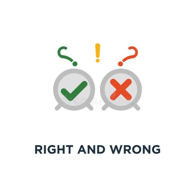 juist en verkeerd antwoordpictogram de goede en slechte ervaring, ondergaat onderzoek, o.k. en het ontwerp van het het conceptens royalty-vrije illustratie