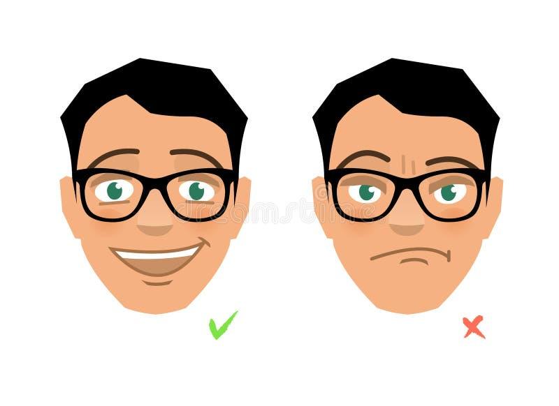 Juist en verkeerd, correct en onjuist, goed en slecht, gelukkig en droevig gezicht vector illustratie
