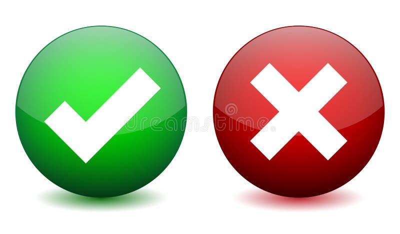 Juist en verkeerd pictogram stock illustratie