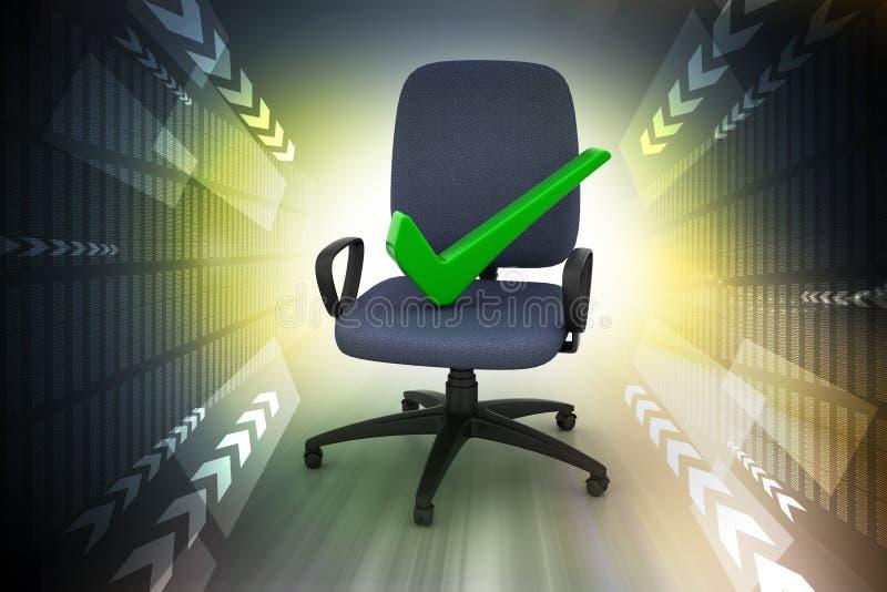 Juist teken die comfortabele computerstoel zitten royalty-vrije illustratie