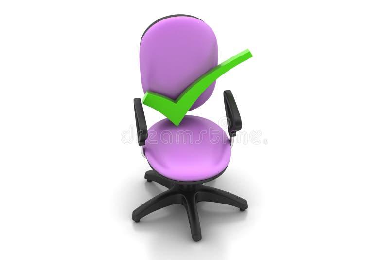 Juist teken die comfortabele computerstoel zitten stock illustratie