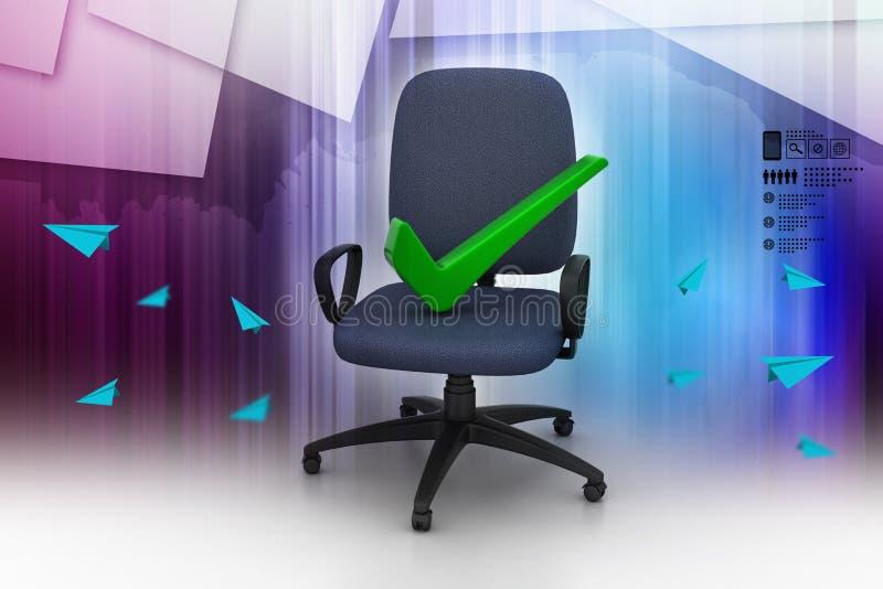 Juist teken die comfortabele computerstoel zitten vector illustratie