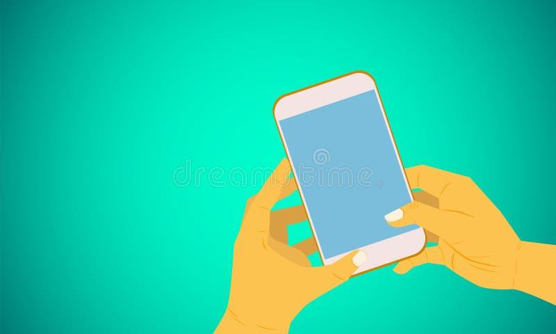 Juiste en linkerholdingssmartphone gebruikend toepassing voor sociale zaken die vectorillustratie eps10 op de markt brengen stock illustratie