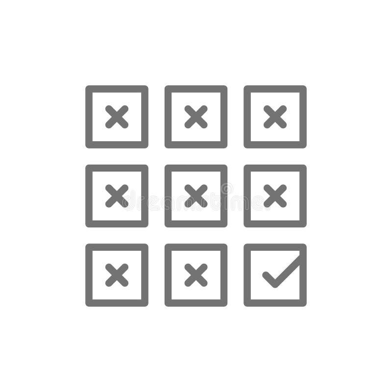 Juiste keus, vinkje op stemming, het pictogram van de controlelijstlijn stock illustratie