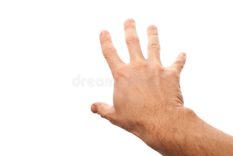 Juiste mannelijke hand die iets proberen te grijpen royalty-vrije stock afbeelding