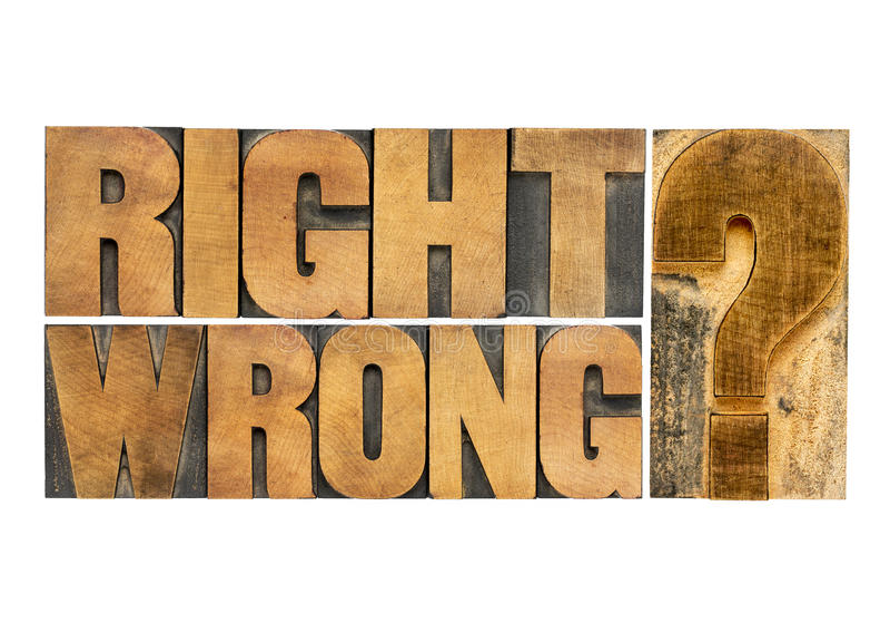Juiste of verkeerde vraag stock afbeeldingen